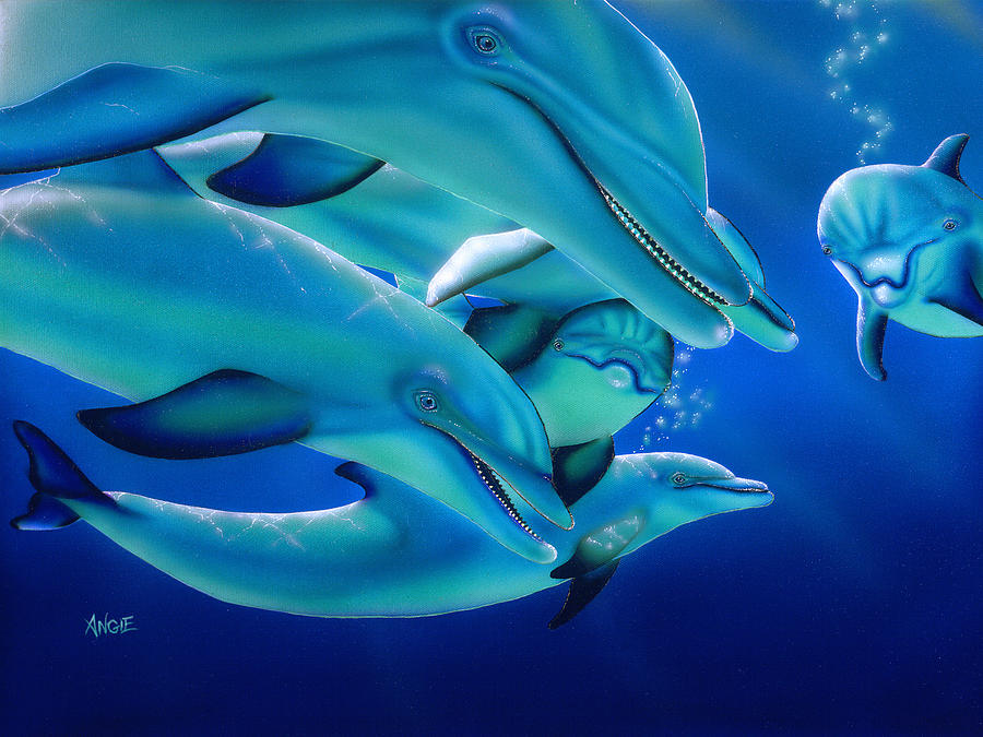 Blue Painting - Curiosity by Angie Hamlin