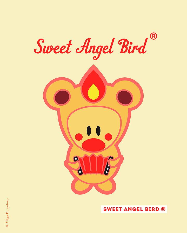 Woodland Digital Art - Cute Art - Sweet Angel Bird in a Bear Costume Playing an Accordion Art Print by Olga Davydova