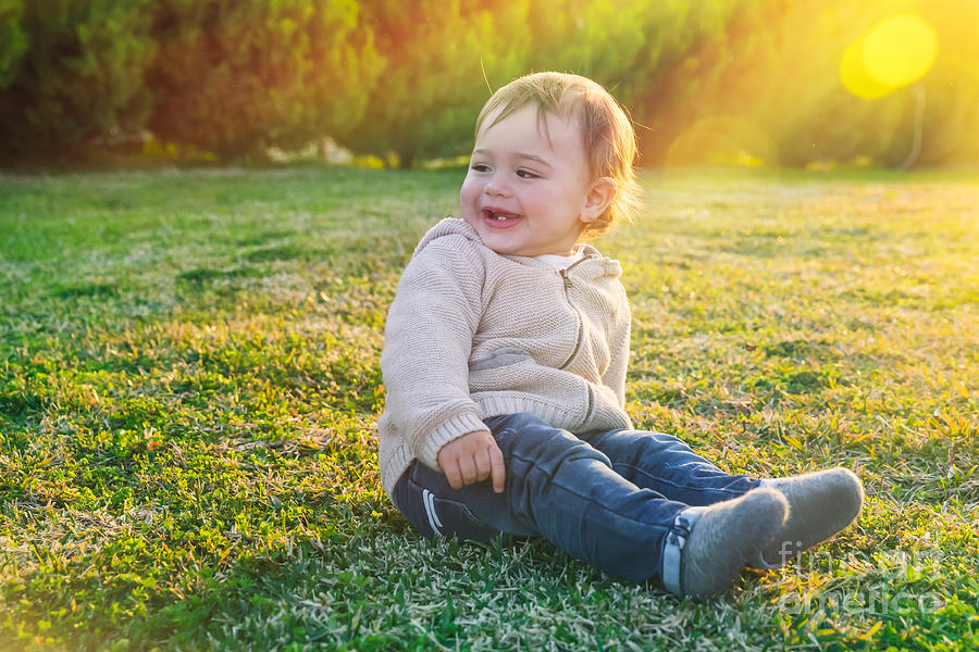 Adorable Photograph - Cute Baby Boy Outdoors by Anna Om