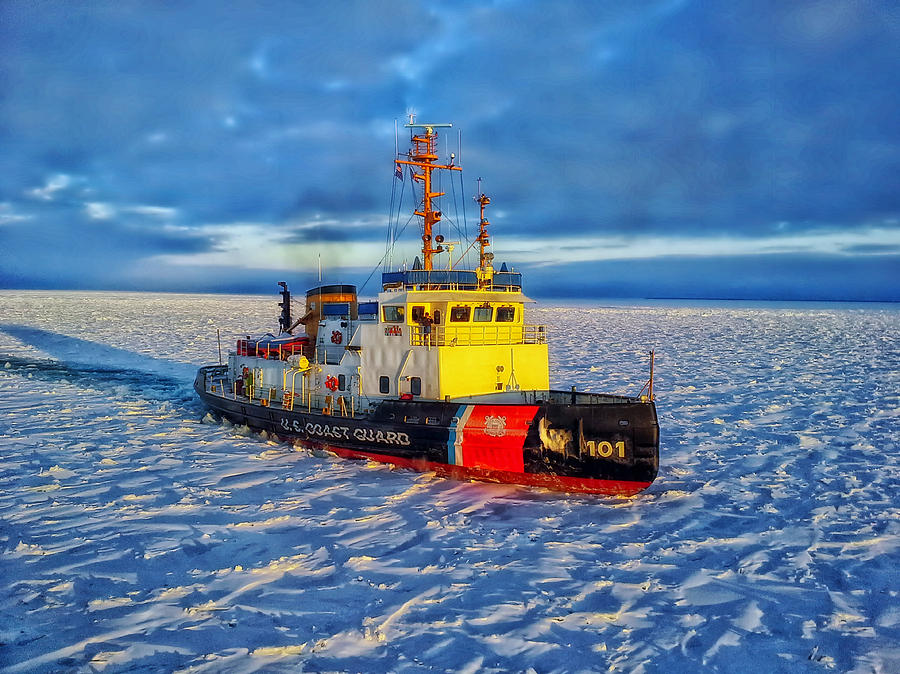 United States Coast Guard Photograph - Cutting Through The Ice On Lake Michigan by Daniel Michelson