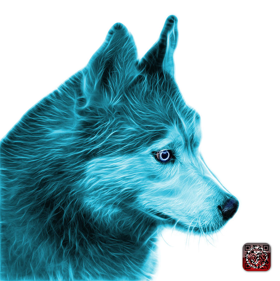 Cyan Siberian Husky Art - 6048 - WB by James Ahn
