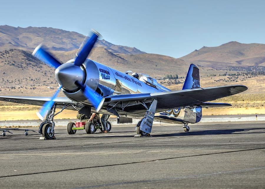 Sunday Afternoon Photograph - Czech Mate Engine Start Sunday Afternoon Gold Unlimited Reno Air Races by John King