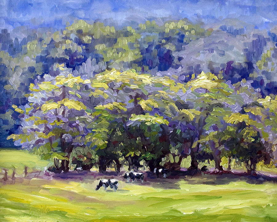 Landscape Painting - Dairy Cows by Kathy Busillo