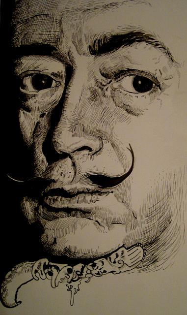 Portrait Drawing - Dali by Kamalky Laureano