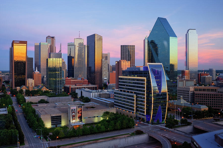Horizontal Photograph - Dallas Skyline At Dusk by Jeremy Woodhouse