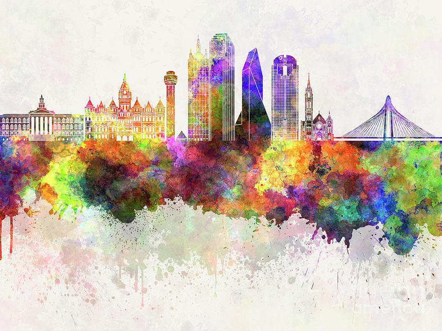 dallas skyline in watercolor background painting by pablo