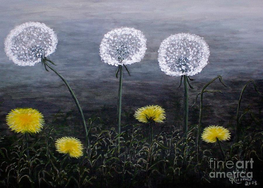 Dandelion Painting - Dandelion Family by Judy Kirouac