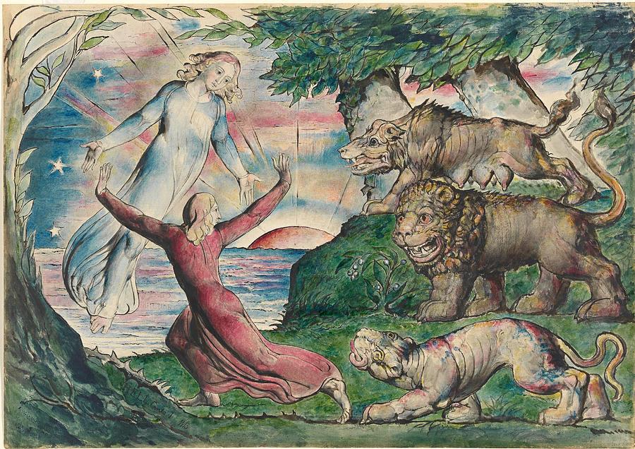 Dante Painting - Dante Running From The Three Beasts by William Blake