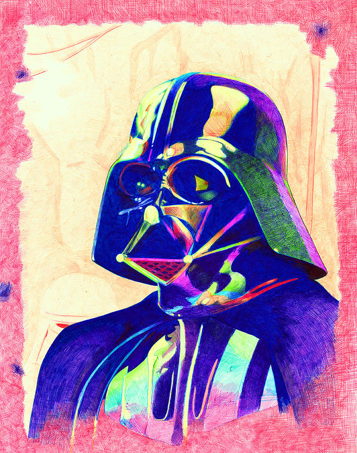 Darth Drawing - Darth Vader by Kyle Willis