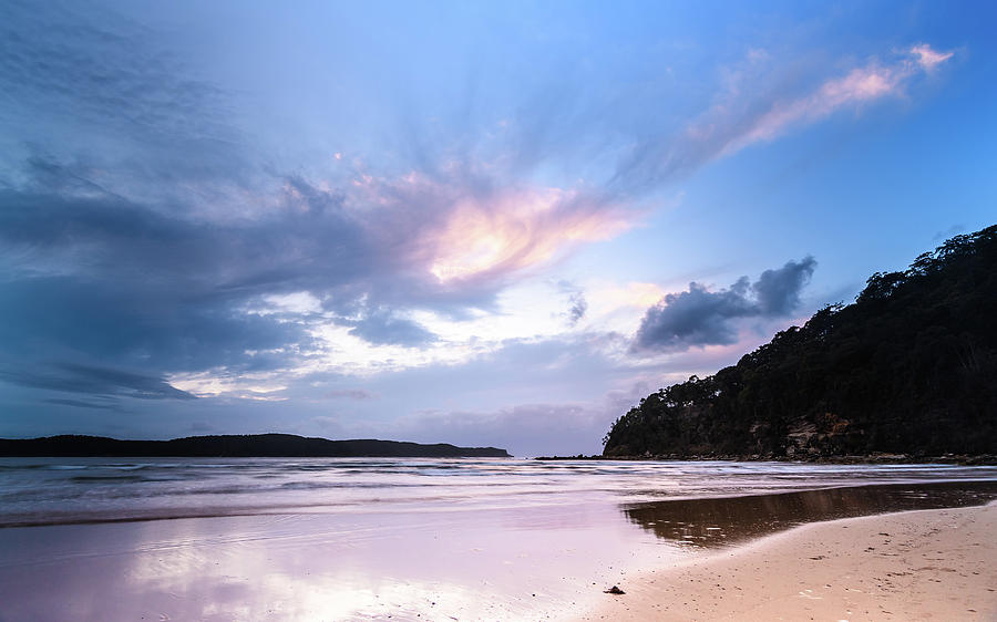 Umina Beach Photograph - Dawn Seascape With Cloudy Sky by Merrillie Redden