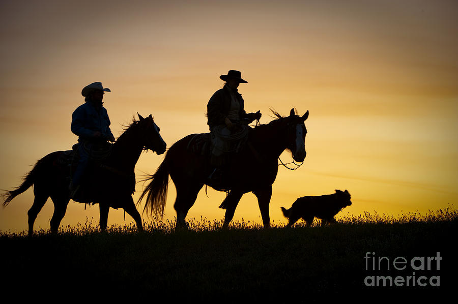 Cowboys And Horses Photograph - Day Is Done by Sandra Bronstein