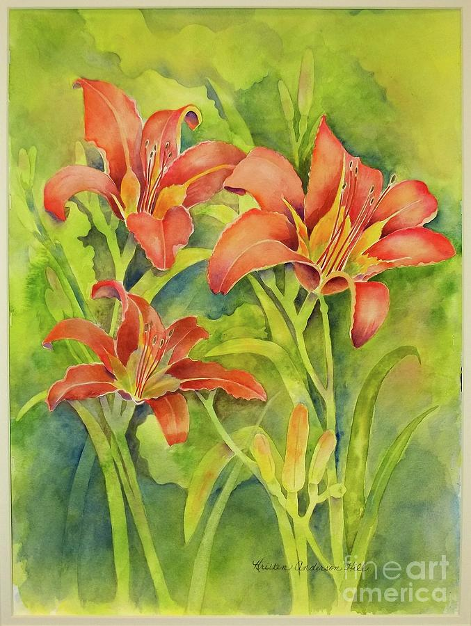 Flowers Painting - Day Lilies by Kristen Anderson Hill