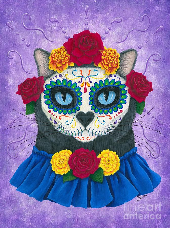 Day of the Dead Cat Gal - Sugar Skull Cat by Carrie Hawks