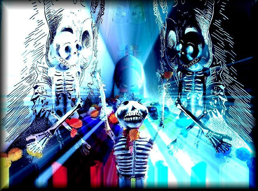 Skulls Digital Art - day of the dead in Mexico by Monica Magallon