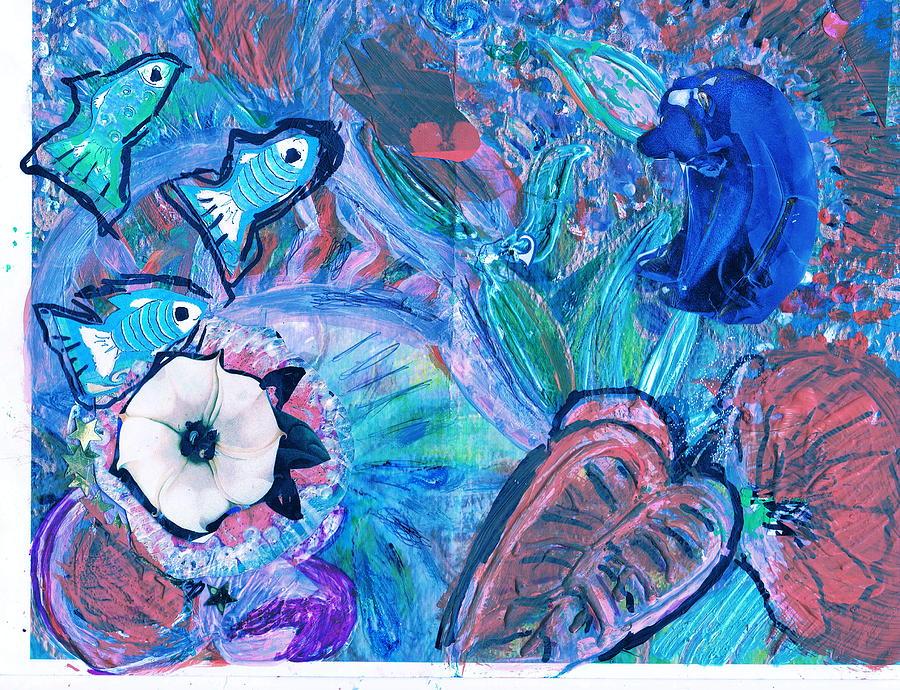 Bear Painting - De Bear No Lookee De Fish Get Wey by Anne-Elizabeth Whiteway