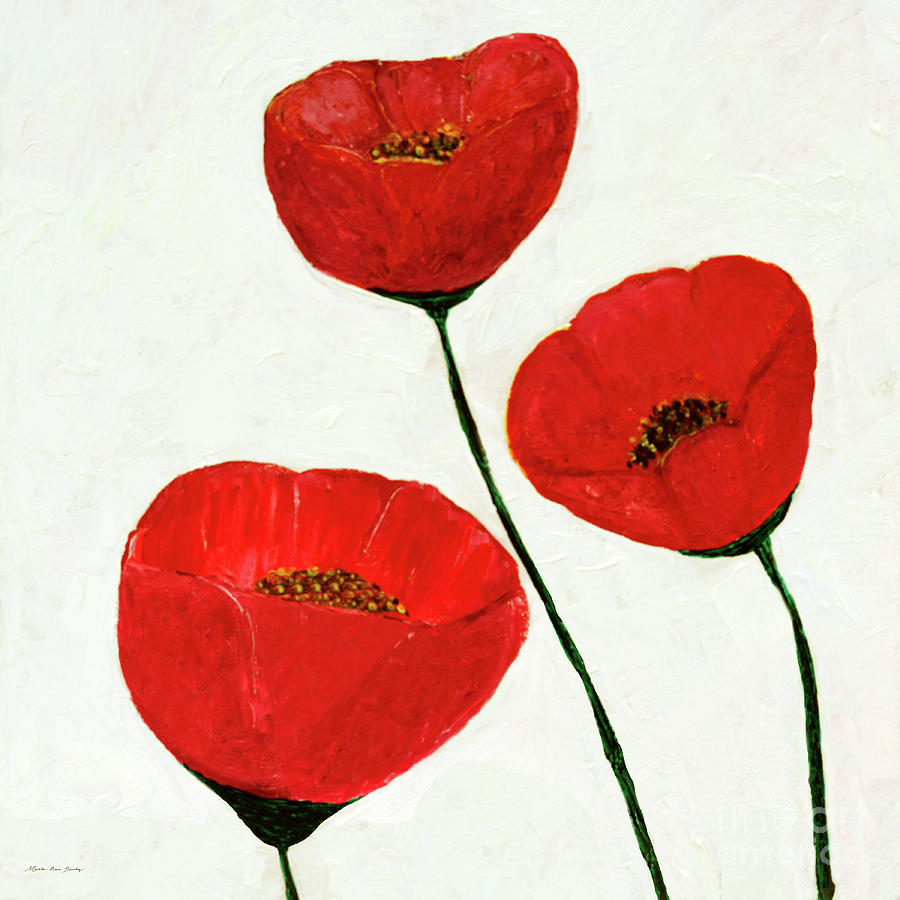 Decorative Poppies Acrylic Painting C62017 Painting By Mas Art Studio