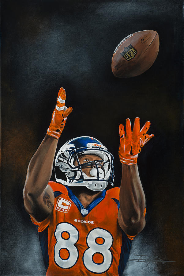 Bronco Drawing - Demaryius Thomas by Don Medina