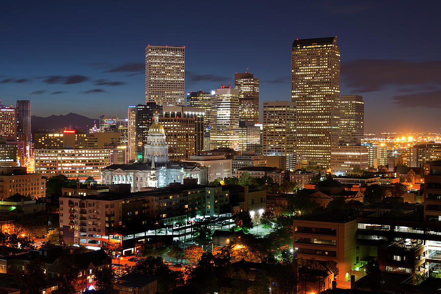 Denver Photograph - Denver Evening Skyline by Steve Mohlenkamp