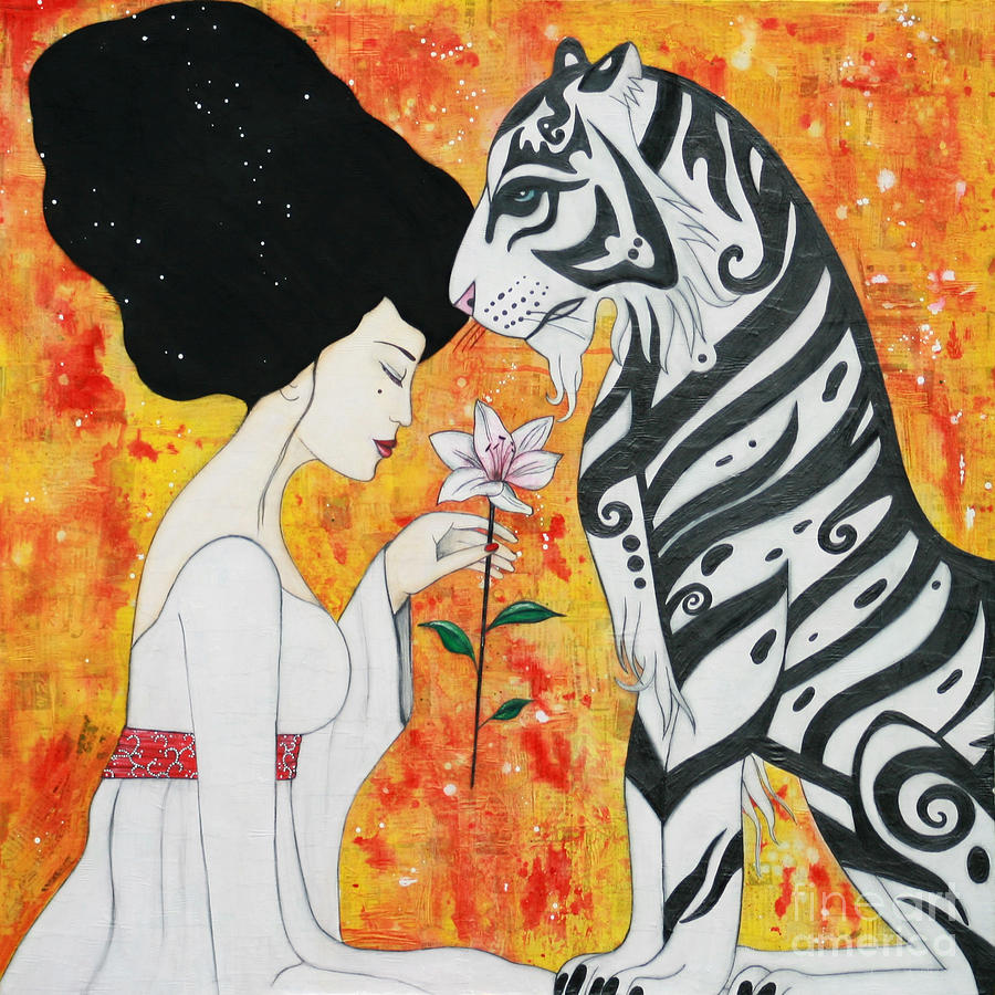 Tiger Mixed Media - Devoted by Natalie Briney