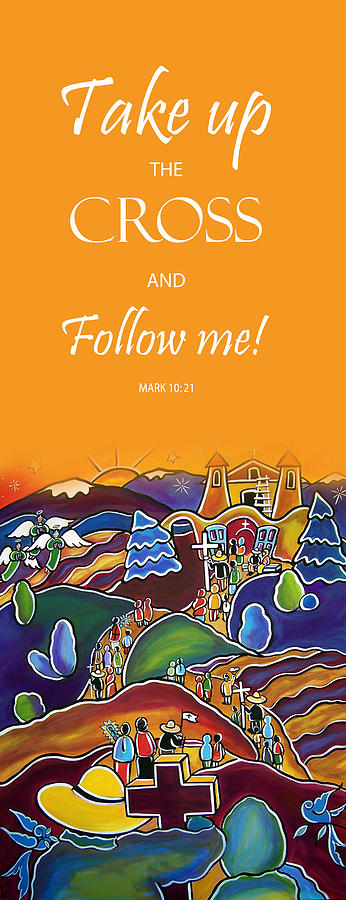 Devotional Art Banner - Scripture from Mark by Jan Oliver-Schultz