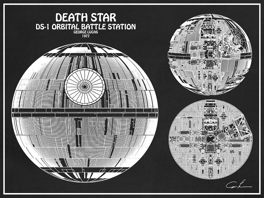 diagram illustration for the death star, ds-1 orbital battle station from  star wars
