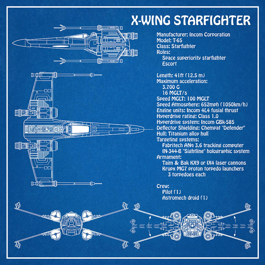 Diagram Illustration For The T 65 X Wing Starfighter From Star Wars Digital Art