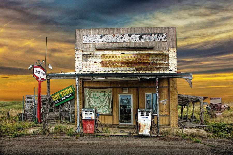 Abandoned Gas Station at the Ghost Town in Okaton South Dakota Photograph  by Randall Nyhof