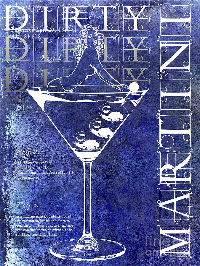 Martini Photograph - Dirty Dirty Martini Patent Blue by Jon Neidert