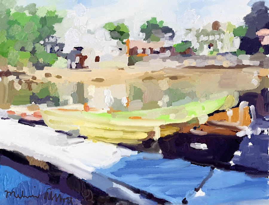 Gloucester Painting - Dories At Beacon Marine Basin by Melissa Abbott