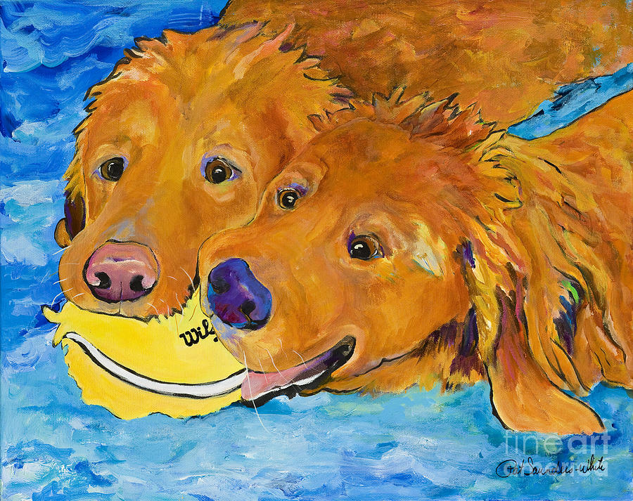 Golden Retriever Painting - Double Your Pleasure by Pat Saunders-White