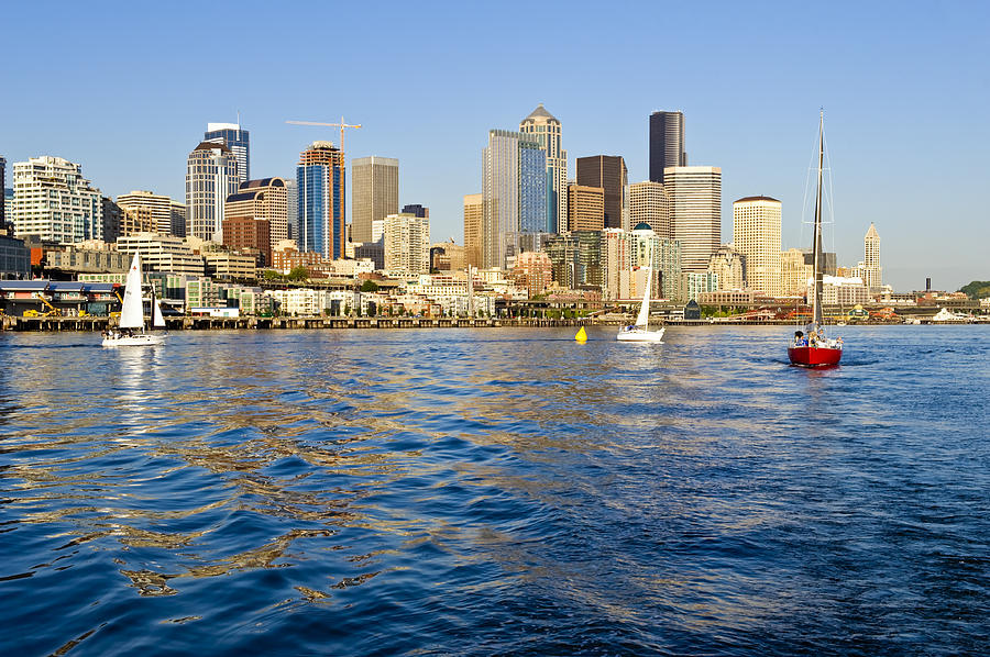 Seattle Photograph - Downtown Seattle Sailing by Tom Dowd
