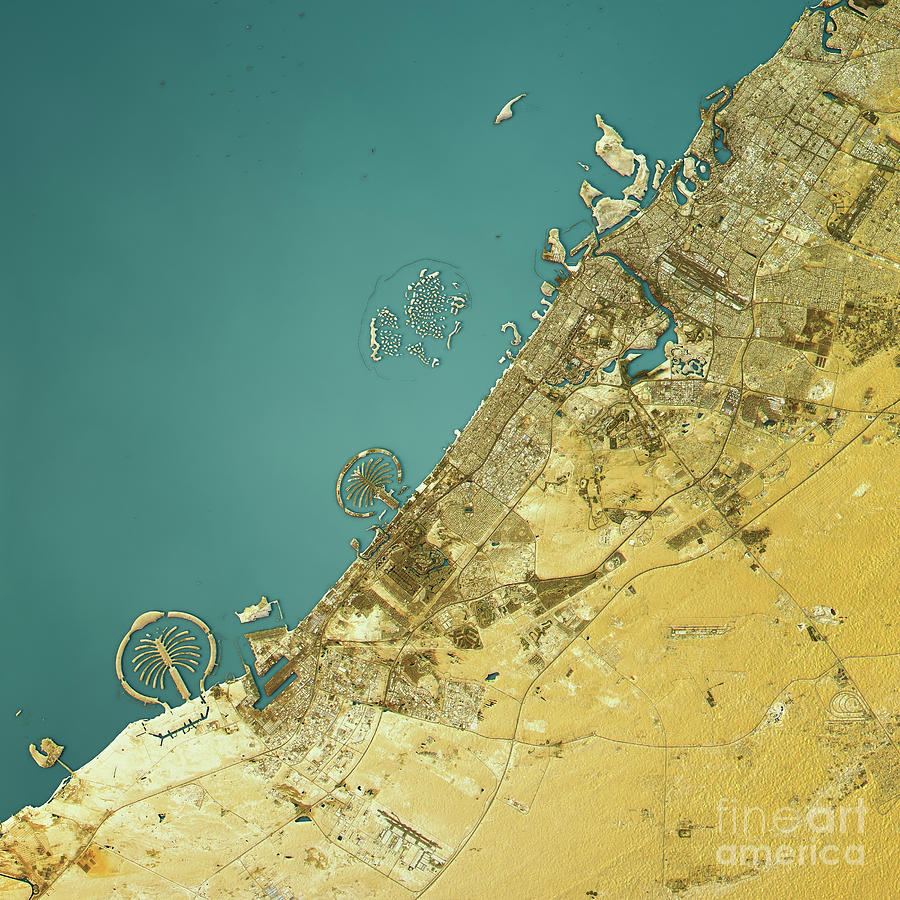 Color art dubai - Dubai Digital Art Dubai Topographic Map Natural Color Top View By Frank Ramspott