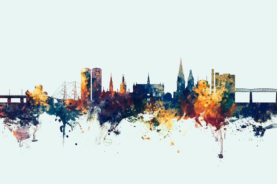 Dundee Digital Art - Dundee Scotland Skyline by Michael Tompsett