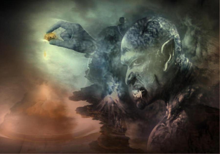 Creepy Digital Art - E1 by Maria Datzreiter
