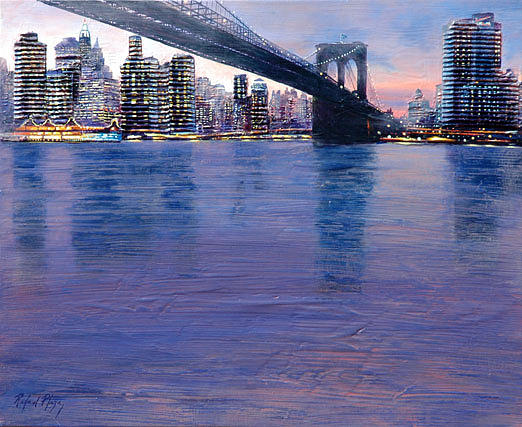 Agua Painting - East River by Rafael Plaza