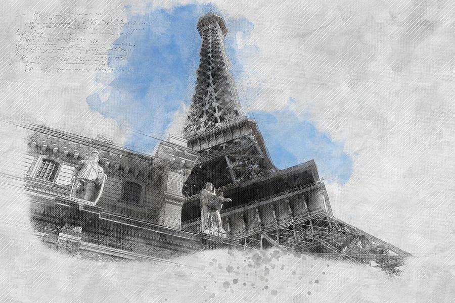 Adam Asar Painting - Eiffel Tower Of Paris by Asar Studios