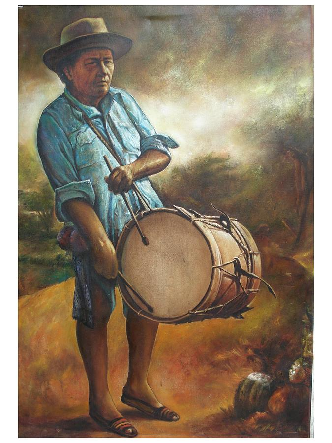Guajira Painting - El Tamborero by Julio  Ariza Urbina