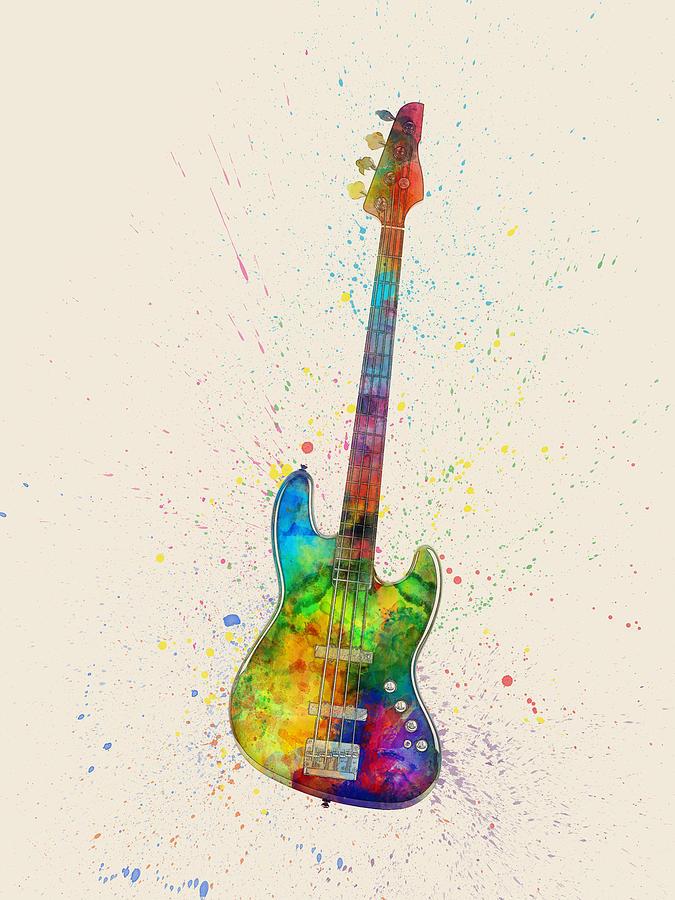 Bass Guitar Digital Art - Electric Bass Guitar Abstract Watercolor by Michael Tompsett