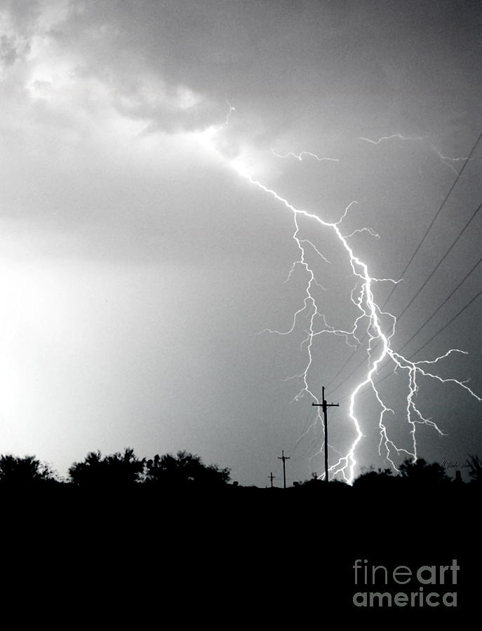 Lightning Photograph - Electricity Vs Electricity-signed by J L Woody Wooden