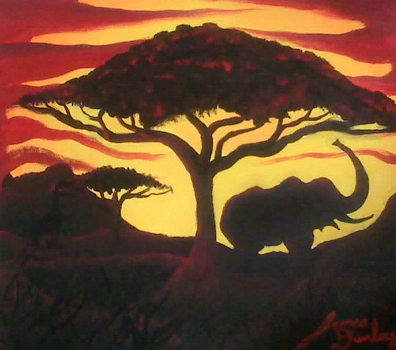 Elephant At Sunset Painting by Portland Art Creations