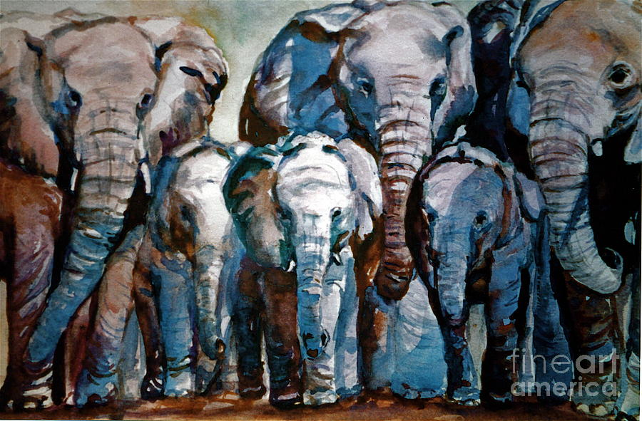 Animals Painting - Elephant Family by Joyce A Guariglia