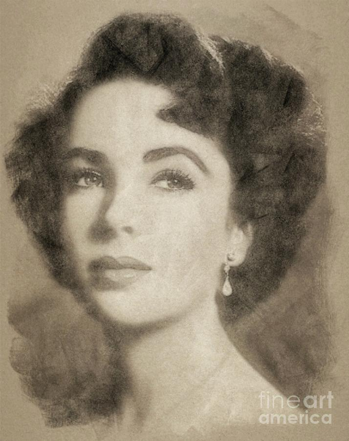 Elizabeth Taylor Hollywood Actress Drawing