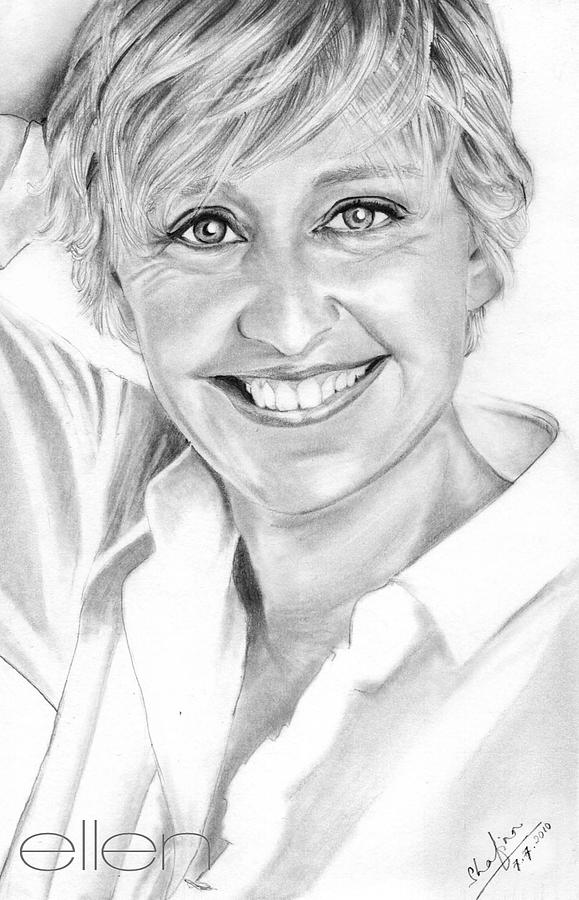 Portraits Drawing - Ellen Degeneres by Shafina Noor
