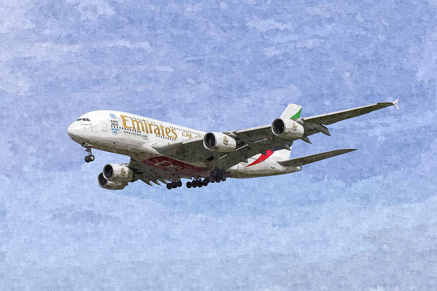 Emirates Airbus A380 Photograph - Emirates A380 Airbus Oil by David Pyatt