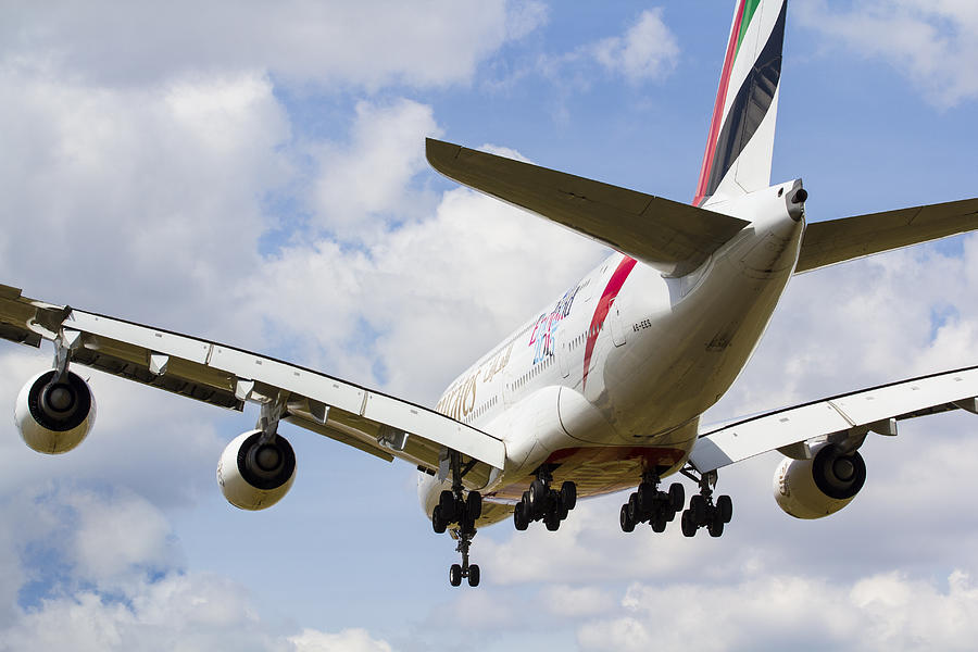 Emirates Photograph - Emirates Airbus A380 by David Pyatt