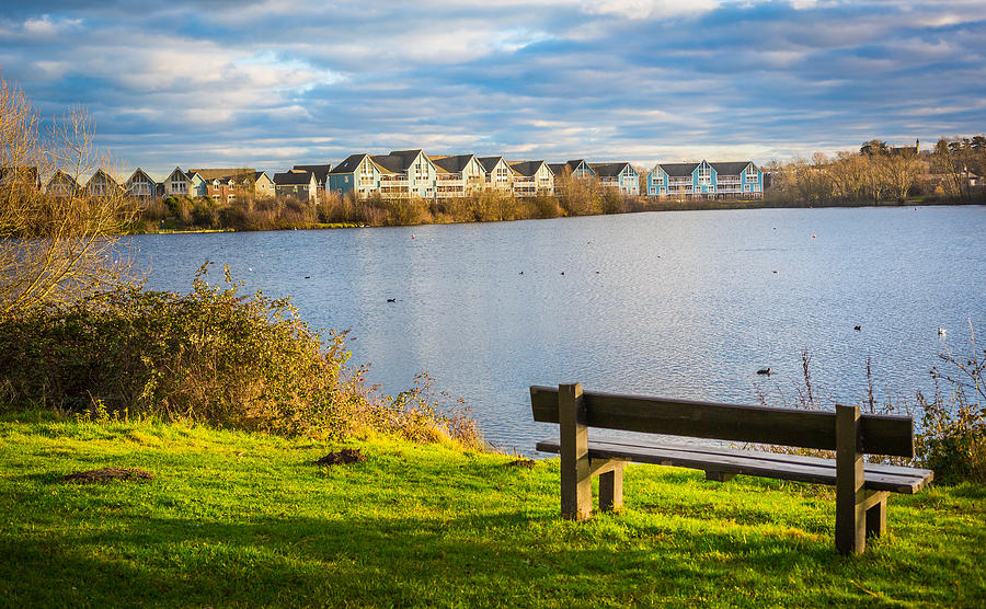 Lake Photograph - Empty Bench by Gary Gillette