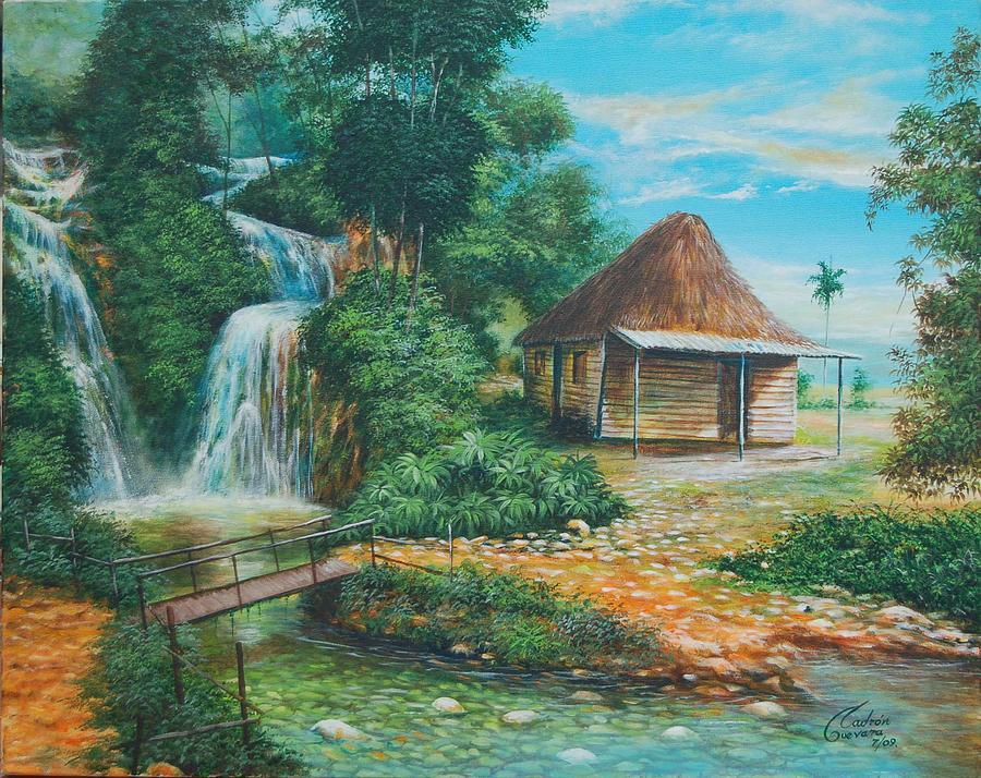 En La Cascada  Painting by Arnaldo Ladron de Guevara