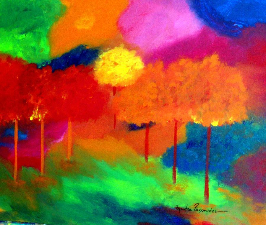 Landscape Painting - Enchanted Forest by Maritza Bermudez