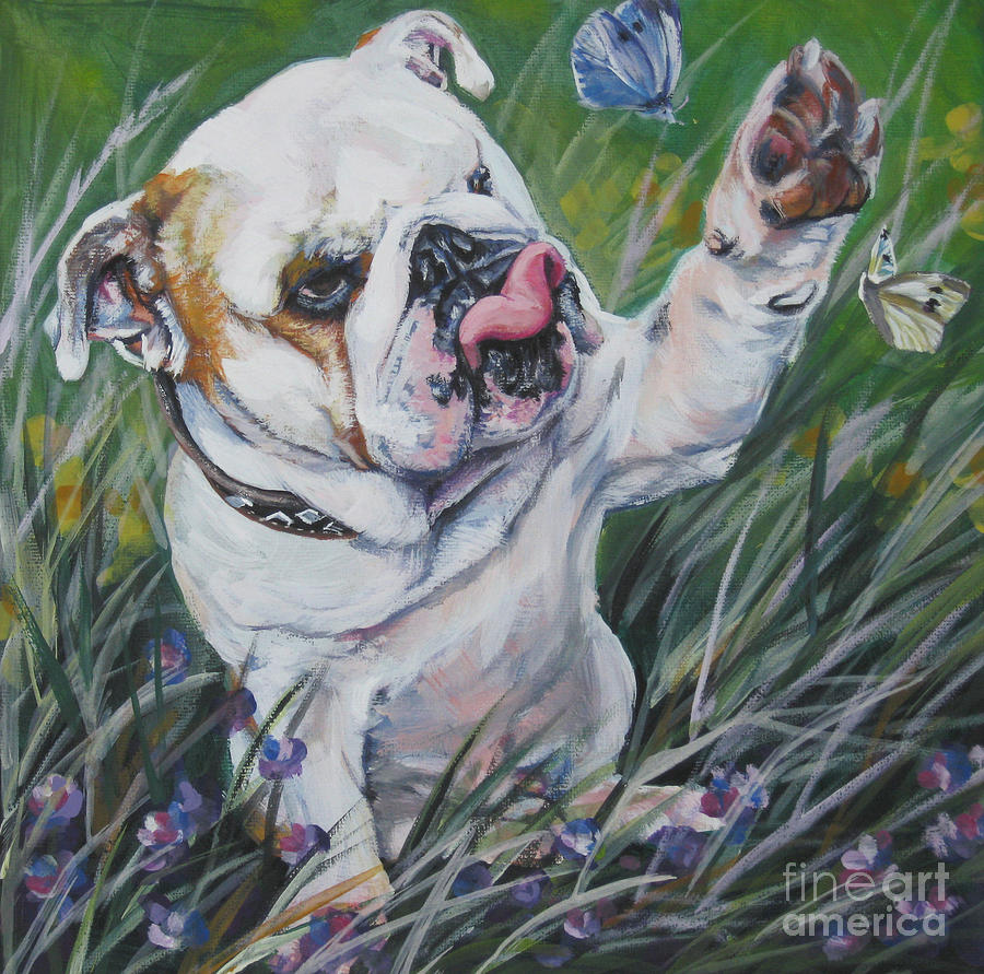 bulldog artwork english bulldog painting by lee ann shepard 3424