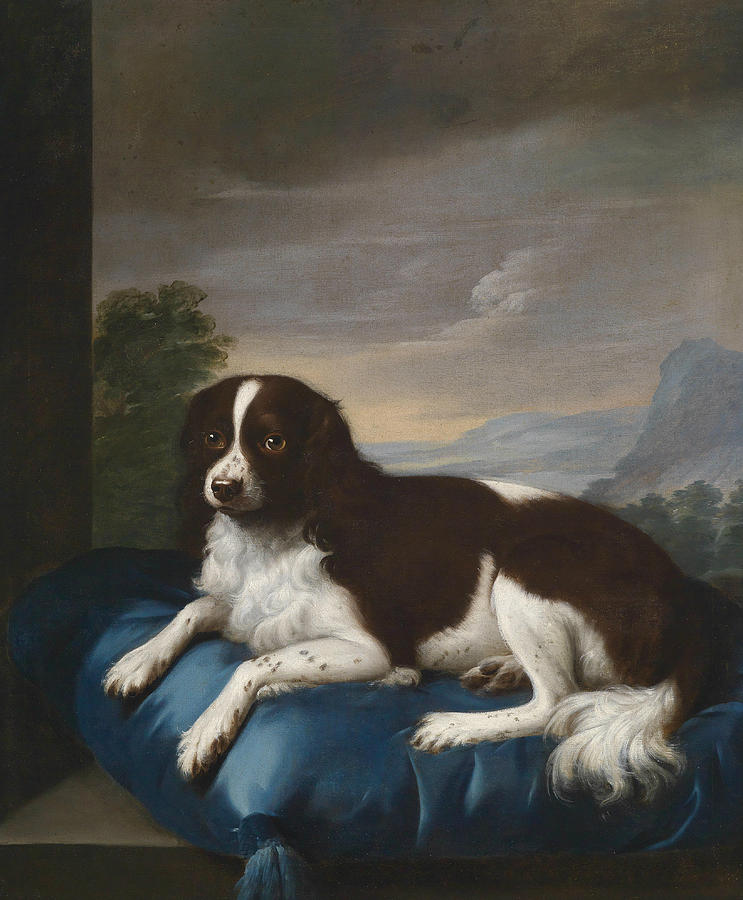 English Painters Painting - English Springer Spaniel On A Cushion by Sawrey Gilpin